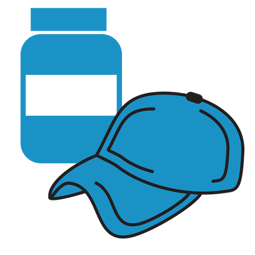image of dietary supplements and a hat